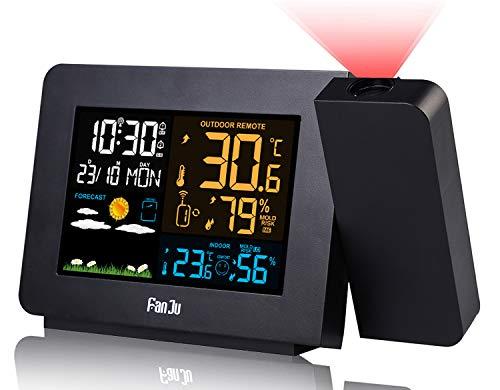Orologio Proiezione Soffitto con Sensore Esterno, Stazione Meteo Temperatura Umidità Esterna Interna, Sveglia Digitale da Comodino 2-Allarmi LCD Displ