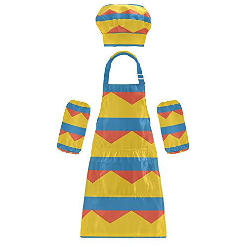 Delantal de chef, con diseño de bandera de Colombia, para niños, ajustable, con bolsillo para cocinar y pintar, Multicolor, Small