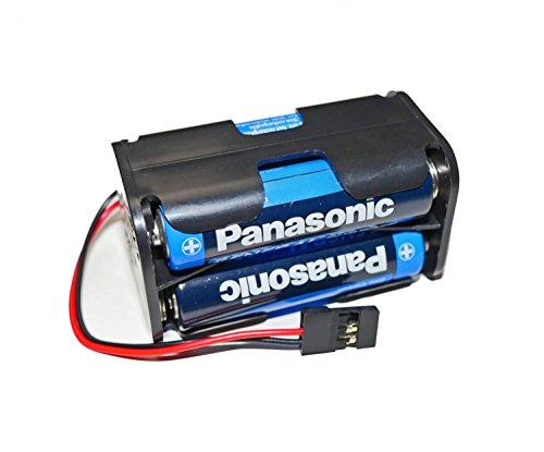 Eibl  - Soporte de pilas para 4 pilas AA de 1,5 V con enchufe, ajuste perfecto, ideal como batería de transmisor, para funciones de iluminación y 6 V BEC para receptor, etc.