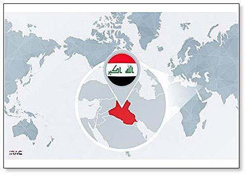 Weltkarte mit vergrößerten Irak-Kühlschrankmagnet, klassisch
