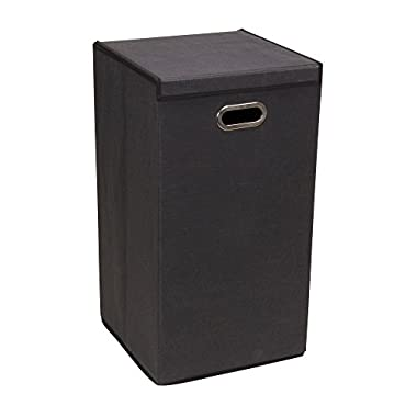 Household Essentials 5616-1 Collapsible Single Laundry Hamper with Magnetic Lid - Black