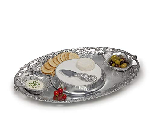Arthur Court Designs Aluminum Grape 5-Piece Entertainment Cheese Chip and Dip Tray - Two Bowls, Spreader, Marble, Tray 20 inch x 13 inch