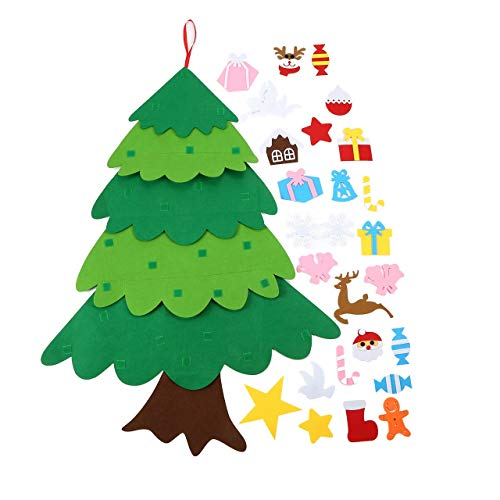 Easyeeasy Árbol de Navidad hecho a mano DIY Decoración de Navidad personalizable Árbol de Navidad de fieltro exquisito tridimensional