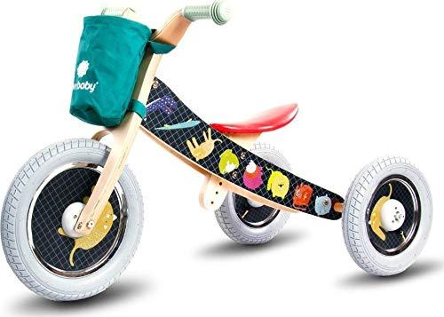 Driewieler kindervoertuig kinderwagen fiets hout kinderfiets loopfiets TOP!