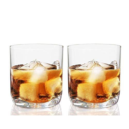AGGF Vasos Dobles de Whisky de 12.5 oz, Base con sangría para el Pulgar, Utensilios de Bar Aptos para lavavajillas, Ideal para Casas y Bares de Whisky y Whisky, Juego de 2
