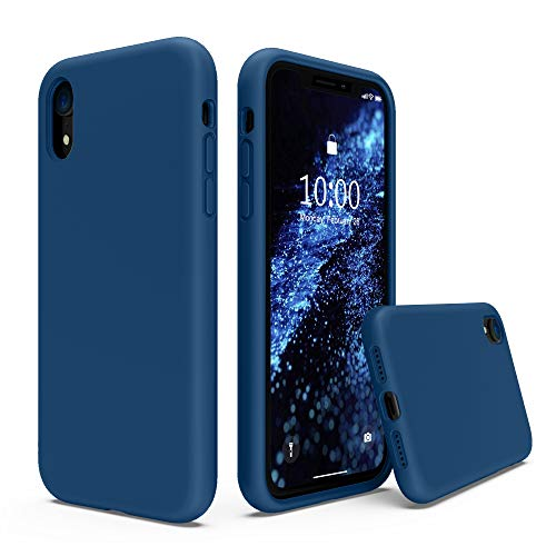SURPHY Silicone Case Compatible with iPhone XR Case, Soft Liquid Silicone Shockproof Phone Case (with Microfiber Lining) Compatible with iPhone XR (2018) 6.1 inches (Blue Horizon)