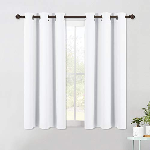 NICETOWN Draperies Curtains Panels, Blocking Out 50% Sunlight Window Treatment Curtains, Grommet Top Small Window Drapes for Bedroom (2 Panels, 42 by 45, White)