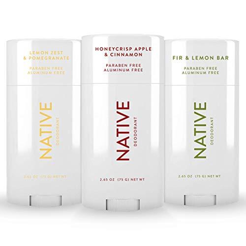 Native Deodorant - Natural Deodorant for Women and Men - 3 Pack Seasonal - Aluminum Free, Contains Probiotics - Honeycrisp Apple & Cinnamon, Lemon Zest & Pomegranate, Fir & Lemon