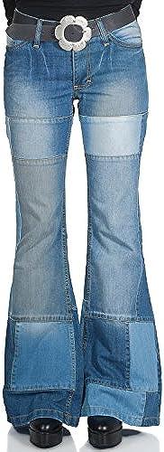 Damen Jeans Patchwork Schlaghose Star Composite