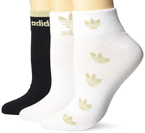 adidas Originals Damen-Socken, kurz, knöchelhoch, 3 Paar, Damen, Socken, 976992, Weiß/Schwarz/goldfarben, M