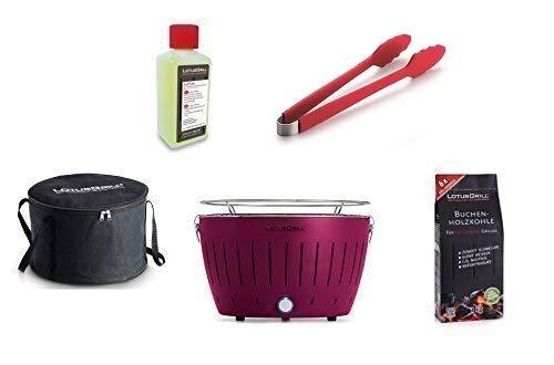 LotusGrill Starter-Set 1x Grill Pflaumenlila mit USB-Anschluß, 1x Buchenholzkohle 1kg, 1x Brennpaste 200ml, 1x Würstchenzange (Farbe nach Vorrat), 1x Transport-Tragetasche - der raucharme Holzkohlegrill