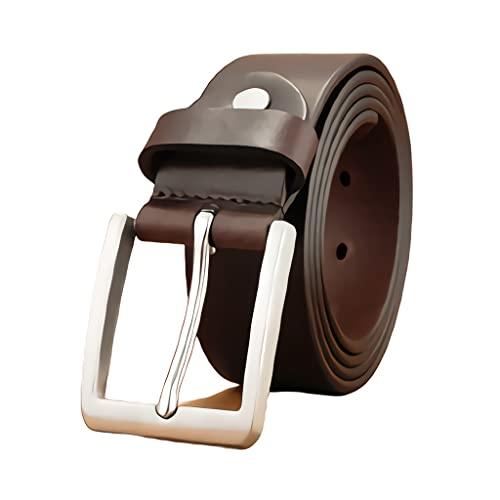 zdz Cintura in Pelle da Uomo Marrone,1.5'in Acciaio Inox Fibbia in Acciaio Inox Fibbia Reversibile for Foro espanso,Jeans Casual da Uomo Abito da Lavoro (Color : Brown, Dimensione : 39.4 inchs)
