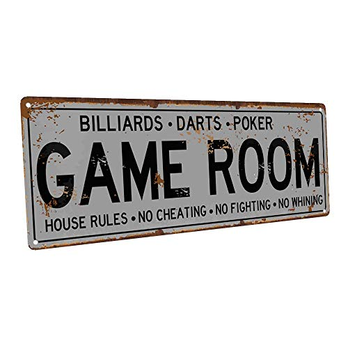 Game Room House Rules Metal Street Sign, Billiards, Poker, Darts, Gaming, Mancave, Den, Wall Décor