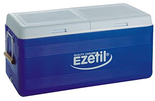 EZetil Passive Kühlbox 3Tage Eis, zum kühlen von Speisen und Getränken unterwegs und auf Outdoor Veranstaltungen wie Grillen oder Camping, Blau/Weiß, 150 Liter