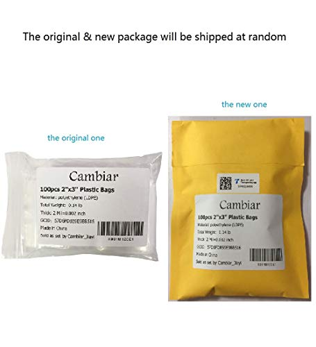 2''x 3'', (Pack of 100) Small Clear Poly Zipper Bags 2 Mil Reclosable Ziplock Storage Plastic Bag for Jewelry, Candy