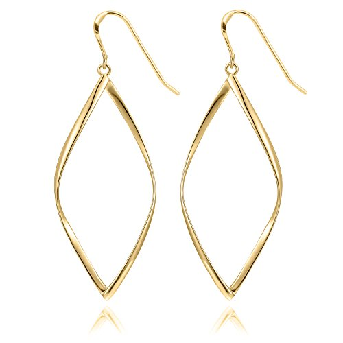 14K Yellow Gold Plated Infinity Sterling Silver Post Hoop Earrings for Women
