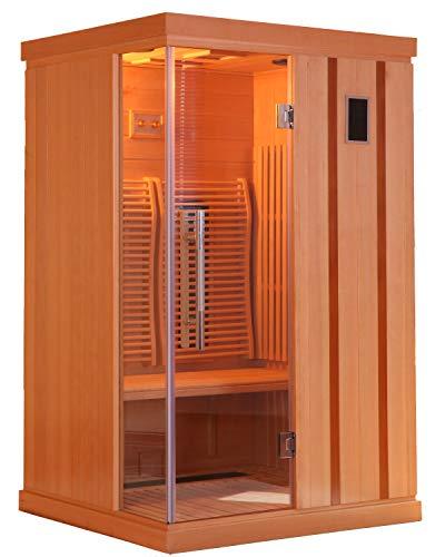 Infrarotkabine 123 x 103 x 190 cm für 2 Personen aus Hemlock Holz | mit ergonomischer Rückenlehne | Infrarotsauna mit Farblichttherapie | Wärmekabine mit 2 Zonensteuerung und Lüftung