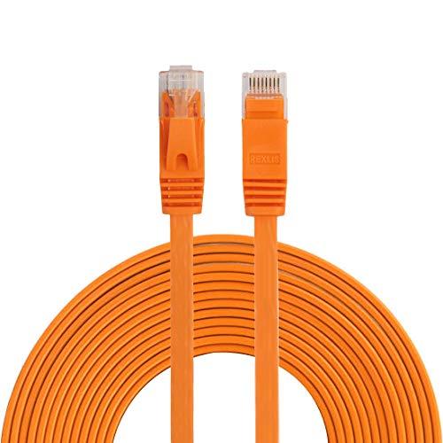 LAN-kabel 5 m CAT6 Ultra-thin Flat Ethernet LAN Kabel, Patch Lead RJ45(Black), Ethernet-kabel (Kleur : Oranje)