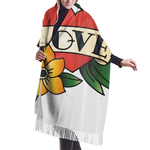 Schal mit Fransen Bleistift gezeichnete Art Pastellfarbene Krone Herz mit Blättern und Blumen Warm Super Soft Kaschmir Feel Pashmina Schals und Wraps