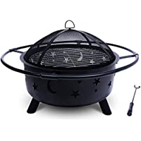 Project One Outdoor Fire Pit with Cooking BBQ Grill Grate, Spark Screen, and Fireplace Poker