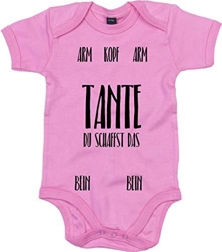 Bleckerliese Baby Body frases niño niña manga corta con diseño Tante du crea la guía para vestir rosa chicle 6-12 Meses