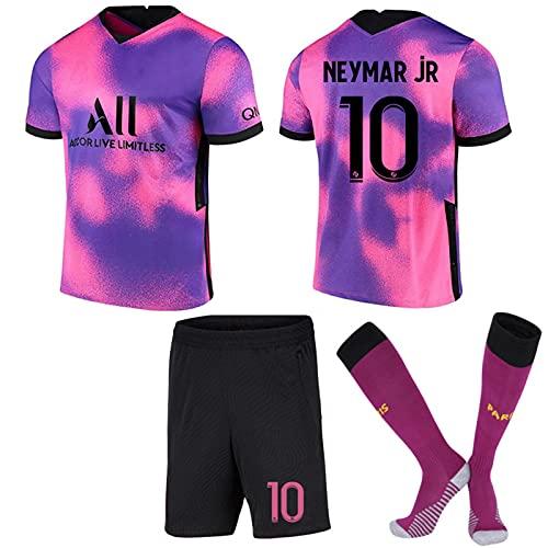 FURUN Paris Football Jersey Uniform Fußball Trikot für Kinder und Erwachsene Herren Jersey, 7#Mbappé 10#Neymar Fan Fußballtrikots Fußballtraining Trainingsanzug, T-Shirt Shorts und Socken,20-21,lila