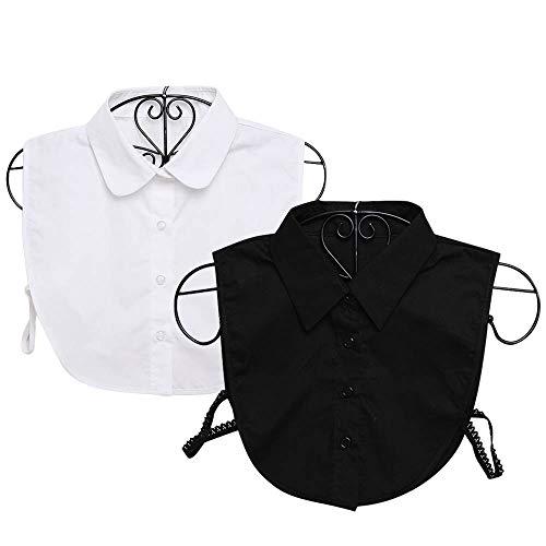 2 STKS Mode Elegante Basic Shirts Nep Valse Kraag voor Dames Meisjes Jurken Truien Blouse Kantoor Vrije tijd Zakelijk Banket Dagelijks Dragen Zwart Wit