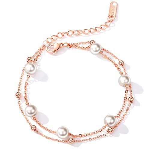 LAYX Las Mujeres Perlas Dos Pulseras de Cadena de la Capa, Ajustable de Acero Inoxidable imitación de Perlas for el Tobillo muñeca Enlace joyería, Color: Plata (Color : Rosegold)