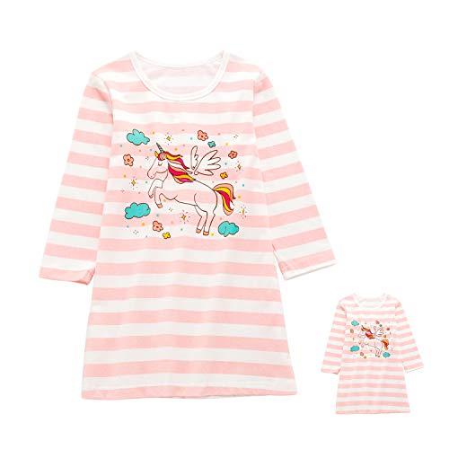 Allmeingeld Mädchen Kitty Nighties Katze Nachthemd Baumwolle Nachtwäsche für 3-10 Jahre Gr. 3-4 Jahre, Rosa Einhorn Langarm mit 45,7 cm Puppenkleid