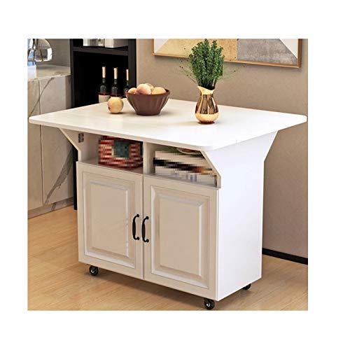 TWW Mesa de Isla en la Cocina, Mesa de Estante móvil para cocinar, Mesa de Cocina, Mesa de Comedor pequeña, Mesa Plegable Multifuncional,Blanco