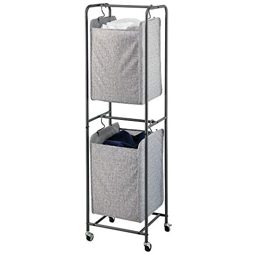 mDesign Vertical Stacked Laundry Hamper Basket with Wheels, Portable, 2 Removable Bags for Organizing Clothes, Laundry, Lights, Darks - Strong Metal Frame - Dark Gray