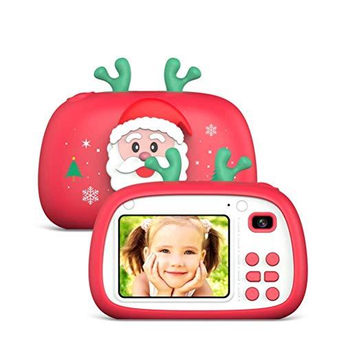 Cámara digital para niños, mini cámara con tema navideño Pantalla IPS de 2.4 pulgadas Cámaras de video USB HD 720P con tarjeta SD de 32GB y múltiples modos de fotografía Videocámara de silicona Los m