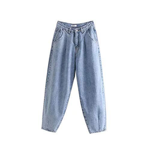 CML Denim Hosen Frauen Hohe Taille Harem Hosen 2020 Lose Jeans Plus Größe Hosen Frauen Casual Streetwear (Color : Light Blue, Size : L)