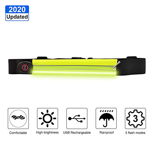 ANCROWN LED Reflective Running Belt, 2020 Updated USB Rechargeable High Visibility Warning Waist Pack, Adjustable Elastic Safety Gear can Hold Phone, Key When Running, Walking, Cycling (Green)