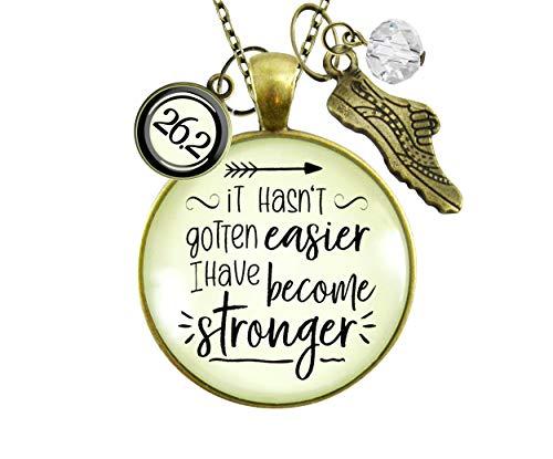 Gutsy Goodness 26.2 Marathon Runners Necklace It Hasn't Gotten Easier Stronger Athlete Mantra Jewelry 24'