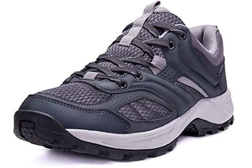 CAMEL CROWN Herren Wanderschuhe rutschfeste Atmungsaktive Trekking-& Wanderhalbschuhe Männer Low Top Outdoorschuhe Traillaufschuhe Bequem Leicht Sports Sneaker Schuhe,Grau,44.5 EU