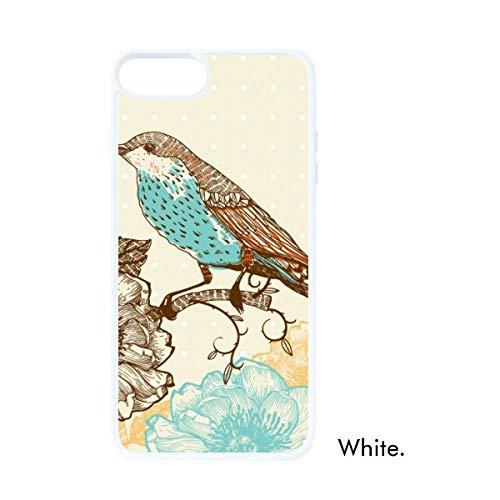 DIYthinker Freehand Schets Bloem Vogel Blauw Zwart Wit Phonecase Apple Cover Case Gift