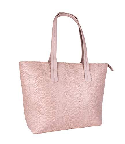 SIX Damen Tasche, Handtasche mit Schlangenprint, Shopper mit Langen Henkeln, Schlangenmuster in Rosa mit goldenen Details (726-656)
