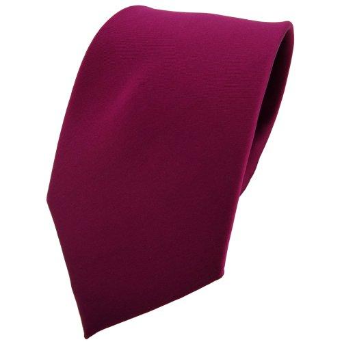 TigerTie Designer Satin Krawatte in violett bordeauxviolett einfarbig uni