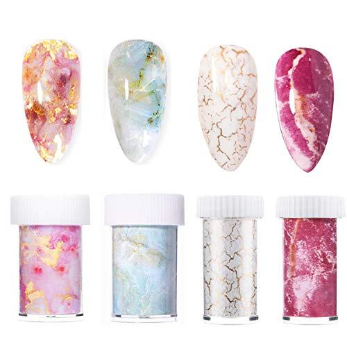 HQdeal 4 pezzi Marmo Nail Foil Transfer Stickers Unghie Trasferimento Adesivo Nail Foil Art Fiori per Unghie Decorazioni DIY, Hai Bisogno di Colla per Unghie