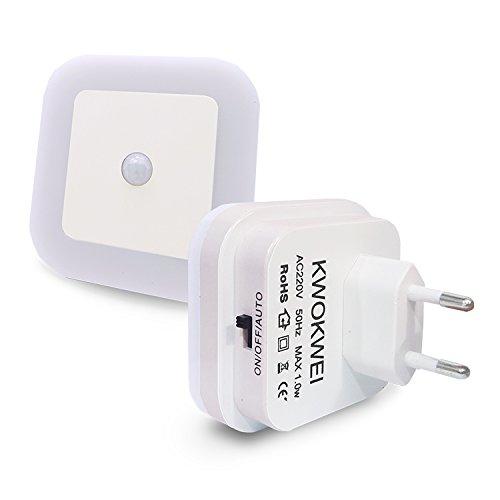 Warmweiß, LED Nachtlicht mit Bewegungsmelder und Helligkeitssensor, KWOKWEI LED Nachtlichter mit Integriertem Dämmerungssensor, Infrarotsensor Orientierungslicht, 3 Modi Energiesparsam Stimmungslicht