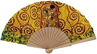 Goodforgoods Abanico con diseño de Las Pinturas de Van Gogh, Klimt y Picasso, de Madera y Tela Ideal para refrescarse en Verano. (Amarillo 1)