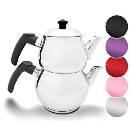 Türkischer Teekocher Teekanne Caydanlik Demlik Induktionsgeeignet Wasserkocher (Schwarz Model 2)