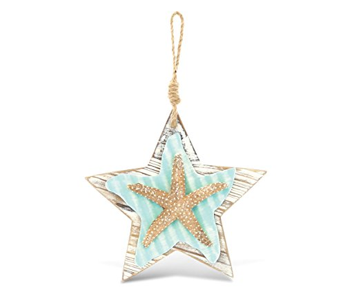 CoTa Global Puzzled Nautical Wooden Ocean Breeze Beach Theme Décor Real Natural Wood Handcrafted Hand Painted Hanging Starfish Wall Accent Home Accent Kitchen Bedroom Living Room Unique Gift Souvenir