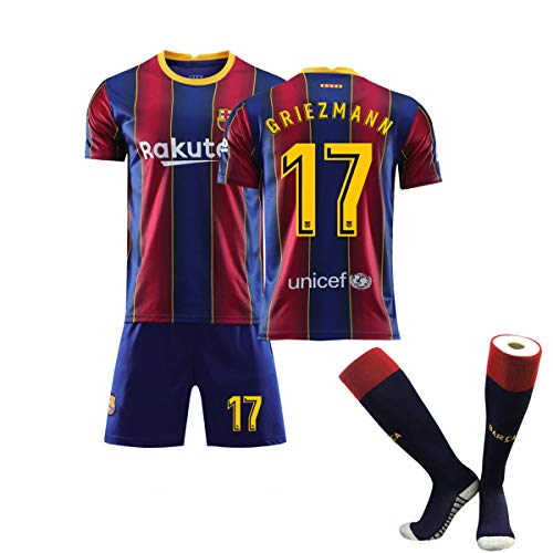 ZGDGG Men's Fc Barcelona 2020/2021 T-Shirt Set Gift Mens Short Fans Loungewear,Griezmann 17 Home,S