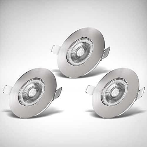 B.K.Licht I Juego de 3 luces LED empotradas en el baño I Ultra plano 25mm I Ø90mm I níquel mate I 3 tablas LED de 5W I 460 lumen I 3.000K blanco cálido I IP44 I foco empotrado en el baño