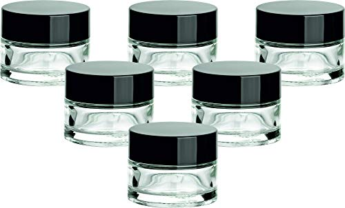 gouveo 12er Set Leere 15 ml Cremetiegel incl. Drehverschluss Schwarz, Cremedose, Döschen, Tiegel, Miniglas