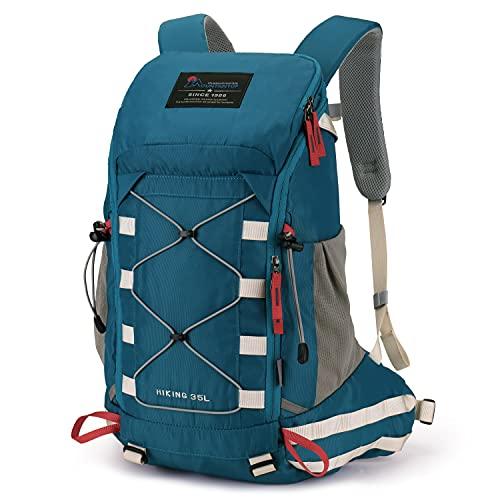 MOUNTAINTOP Mochila Trekking 35 litros Hombre Mujer Mochila de Senderismo Mochilas de Montaña para Viaje Acampadas Impermeable con Cubierta de Lluvia