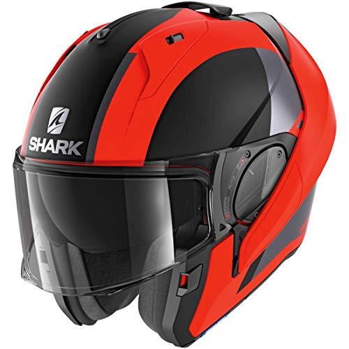 SHARK Herren NC Motorrad Helm, Schwarz/Orange, S