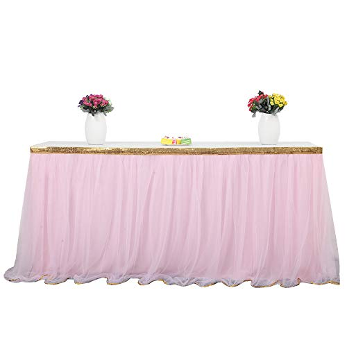HBBMAGIC Tüll Tischrock Rosa Tischdecke Tütü Tischröcke Party Deko Für Hochzeit, Geburtstag, Candy Bar, Weihnachten (Goldrand Rosa, 183cm*76cm)